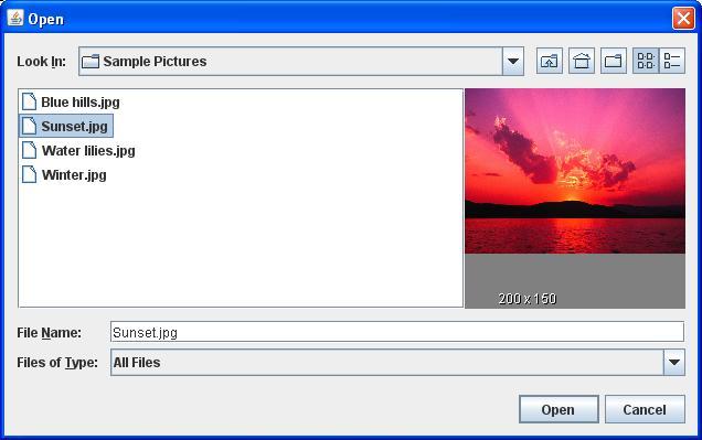 معاينة الصورة في المكون JFileChooser قبل فتحها  284921187